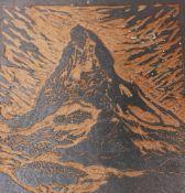 L. Gansmueller , carved plate with description the Matterhorn , 20 th Century. 15x10 cm