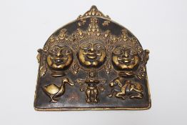Tibet bronze plate, with three faces silver eyes 18/19th Century. 26x24 cm