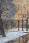 Russian or Polish Artist around 1900 , Landscape, oil on canvas, signed bottom right. 82x54 cm