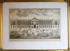 Facade Du Louvre , copper print by Blondel 1761 with description on paper framed under glass.