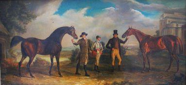 George Stubbs (1724-1806)- follower, horses with jockeys in landscape , oil on copper , framed.