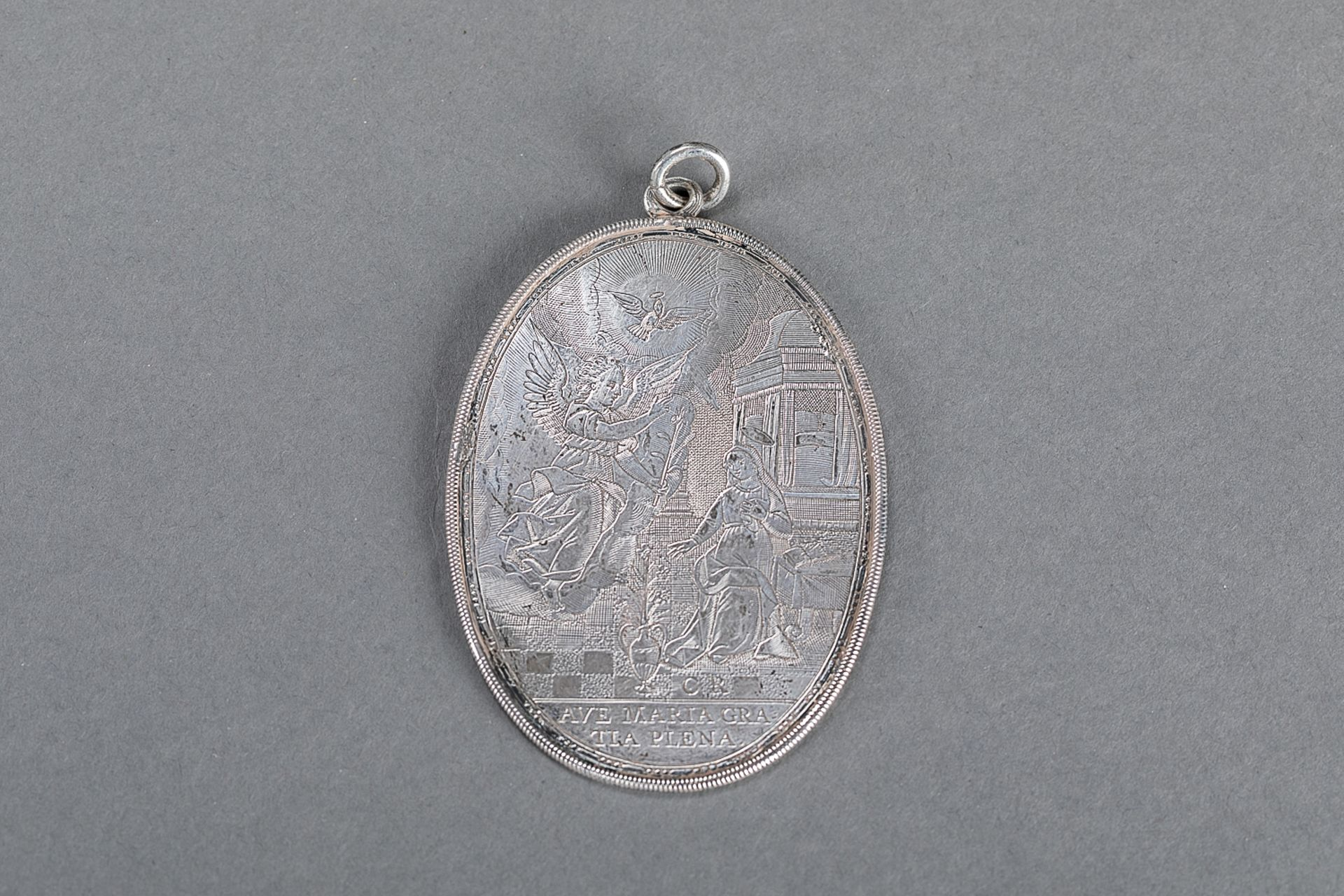 Silver medallion plaquette, 18th Century, C.R. master sign; 6x8.3cm - Image 3 of 3