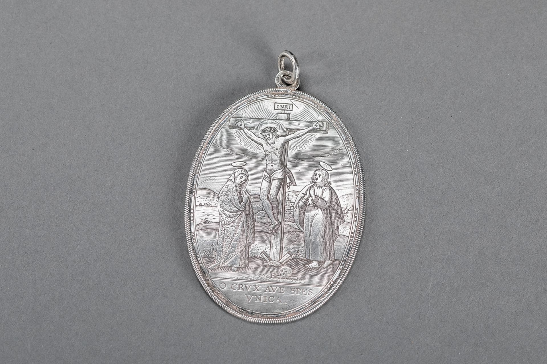 Silver medallion plaquette, 18th Century, C.R. master sign; 6x8.3cm