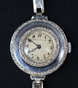 Ladies Watch Mappin and Webb , platinum with diamonds and steel bracelet; English 20th Century; in f