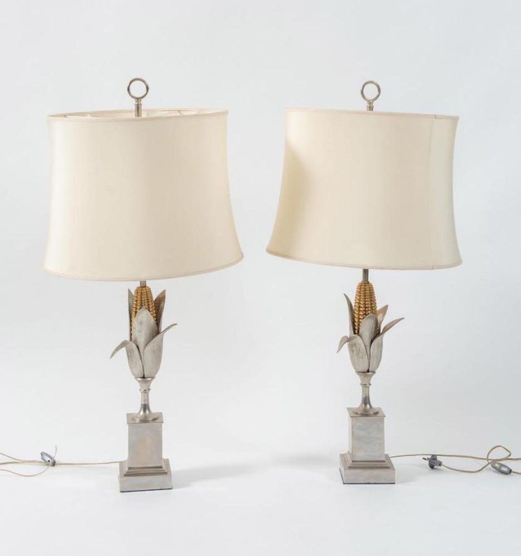 MAISON CHARLES, attr. Coppia di lampade da tavolo in metallo. Prod. Maison Charles Att. ,Francia, 19