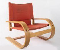 DE PAS, D'URBINO & LOMAZZI Poltrona in multistrato curvato in legno e tessuto; modello Scacciapensie