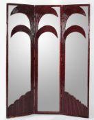 VIVAI DEL SUD, attr. Paravento in bamboo e canna d'india con specchi. Prod. Italia, 1970 ca. Cm 215x