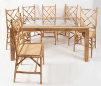 VIVAI DEL SUD, attr. Tavolo con struttura in bamboo e rifiniture in ottone con ripiano in vetro. Sei