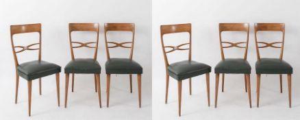 MELCHIORRE BEGA, attr. Sei sedie in legno con rivestimento in pelle. Prod. Italia, 1960 ca. Cm 95x42