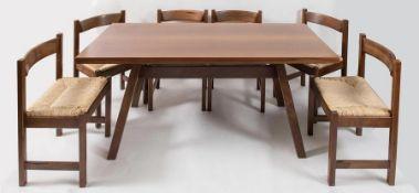 GIOVANNI MICHELUCCI Tavolo in legno con sei sedie della serie Torbecchia. Marchio originale. Prod. P