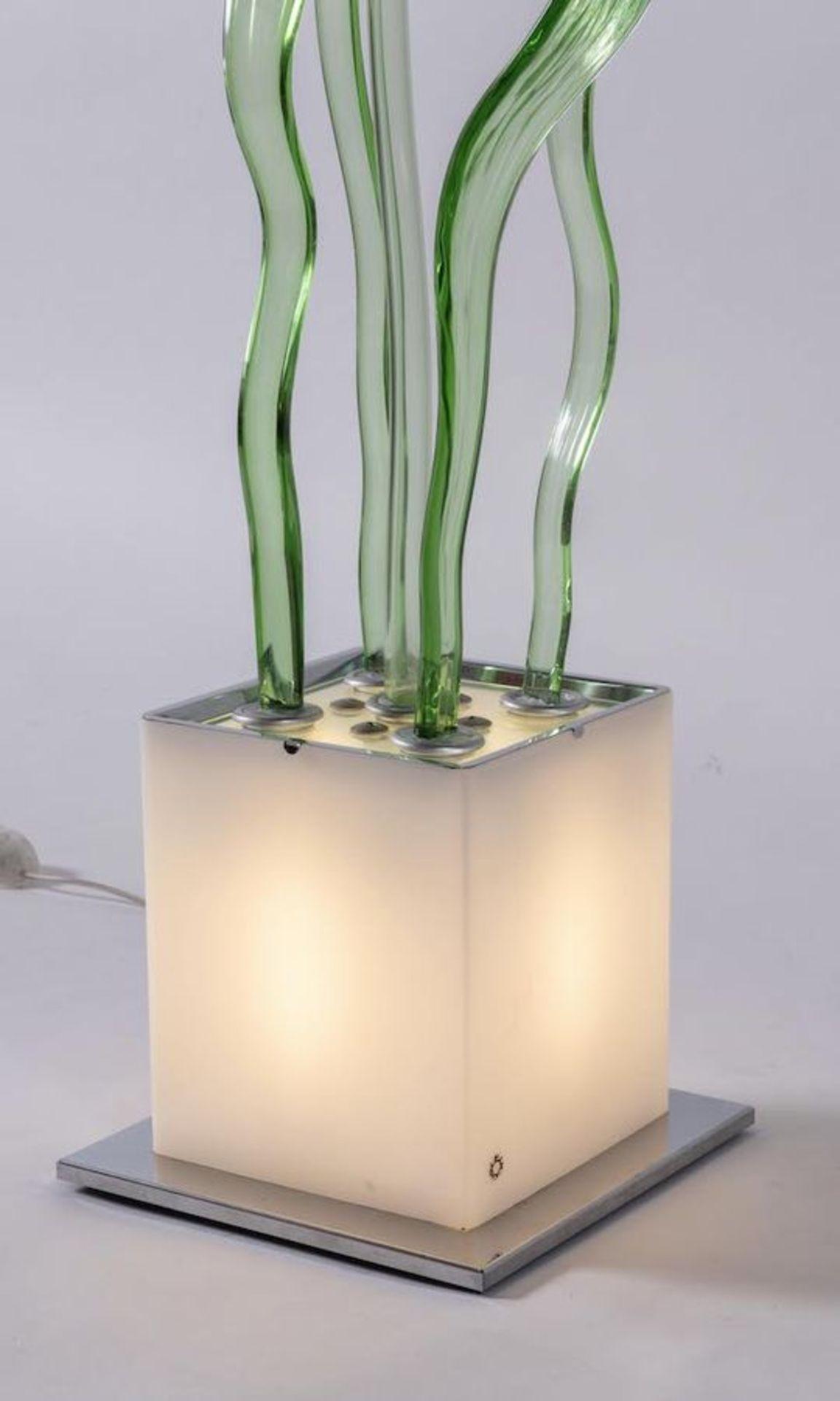 DANILO DE ROSSI Lampada da terra in vetro soffiato con foglie e germoglio in vetro modellato e soffi - Image 3 of 6
