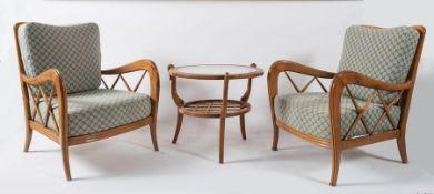 PAOLO BUFFA, attr. Coppia di poltrone in legno e stoffa imbottita. Prod. Italia, 1950 ca. Cadauana d