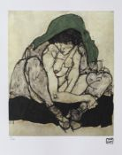 Egon Schiele, Crouching Woman with Green HeadscarfEgon Schiele, Crouching Woman with Green Head