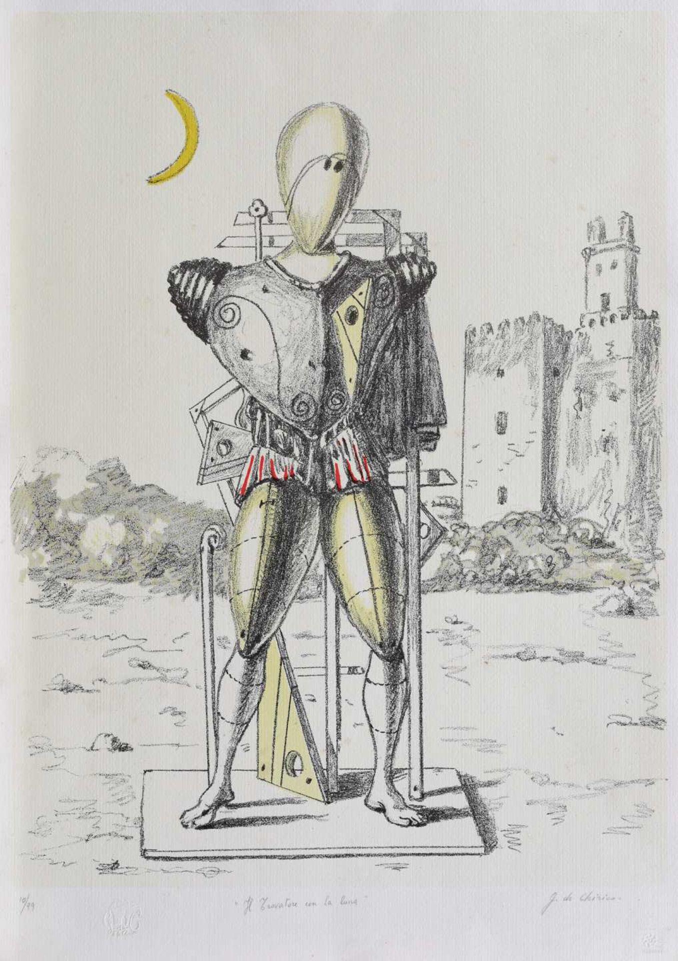 Giorgio de Chirico, Il trovatore con la lunaGiorgio de Chirico, Il trovatore con la luna, chrom