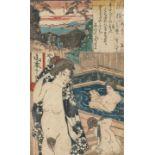 Utagawa Kunisada, Erotic scene (Shunga), illustrating a couple in a Sentō (public bath)Utagawa