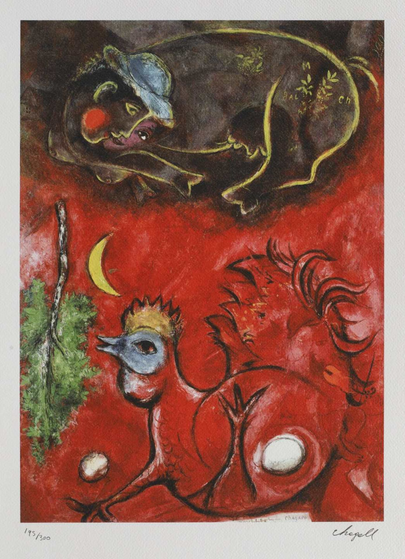 Marc Chagall, Listening to the Cock Marc Chagall, Listening to the Cock, chromolithography, 46 × 33