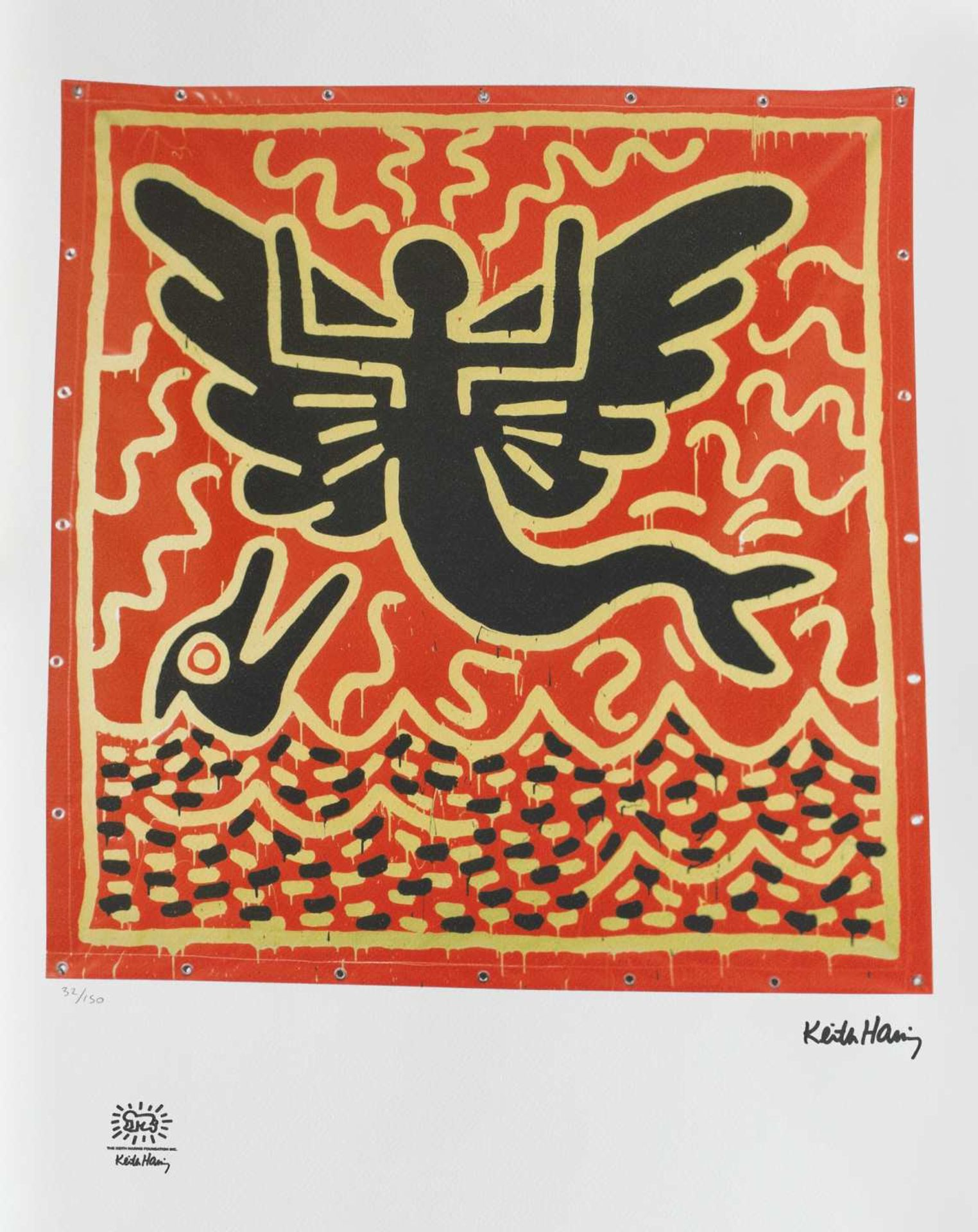 Keith Haring, Mermaid with DolphinKeith Haring, Mermaid with Dolphin, chromolithography, 46 ×