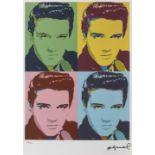 Andy Warhol, ElvisAndy Warhol, Elvis, chromolithography, 40 × 29,5 cm, signed bottom right, un