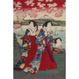 Utagawa Fusatane, Cherry blossoms on the banks of the Sumida RiverUtagawa Fusatane, Cherry blos