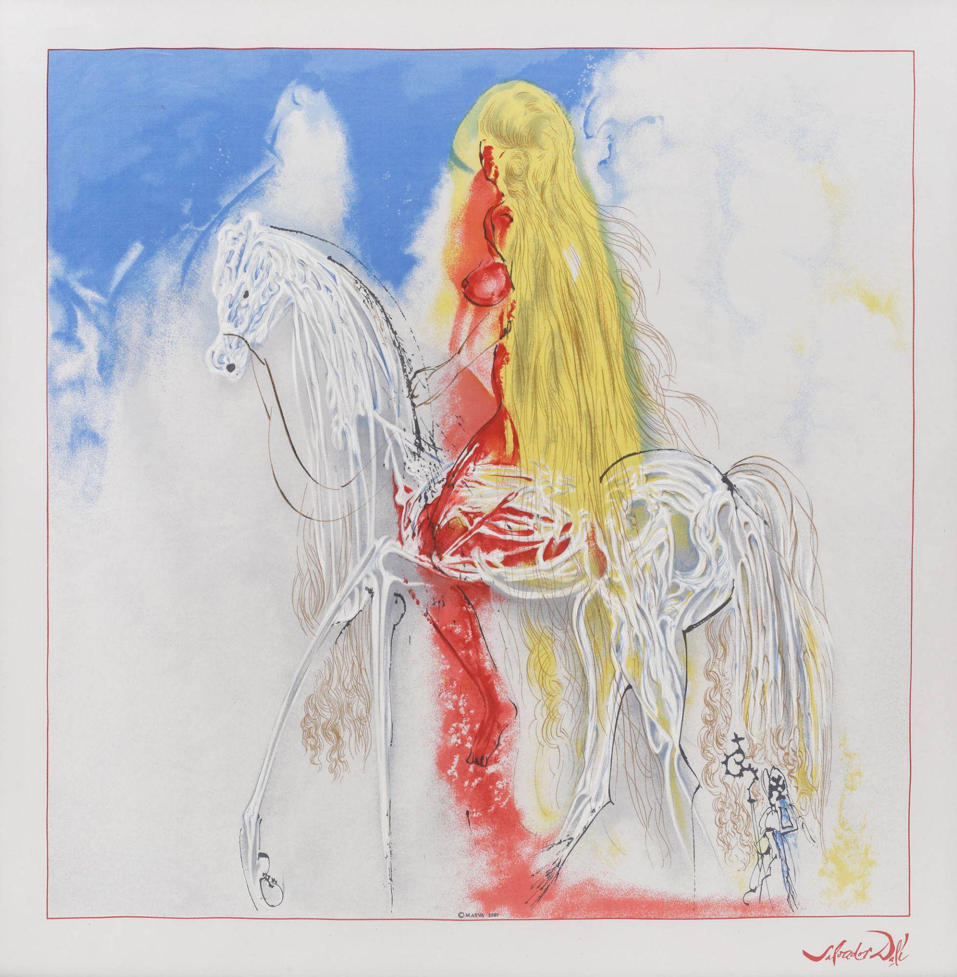 Salvador Dali, Lady GodivaSalvador Dali, Lady Godiva, screen printing on silk, 75 × 75 cm, sig