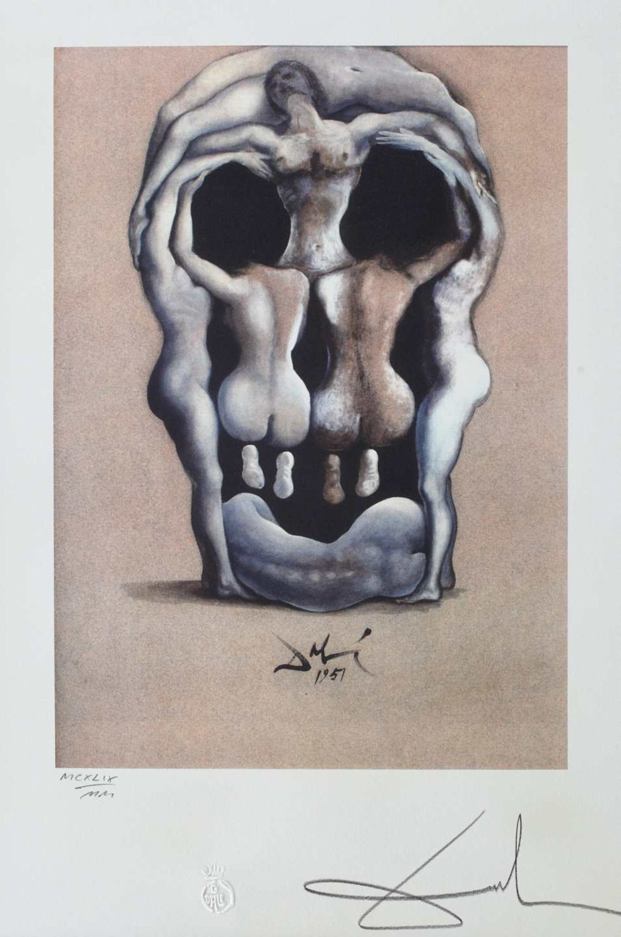 Salvador Dali, SkullSalvador Dali, Skull, chromolithography, 43 × 30 cm, signed and dated, eng