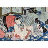 Utagawa Kunisada, Erotic scene (Shunga), representing a couple in ecstasy, by candlelightUtagaw
