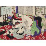 Utagawa Kunisada, Erotic scene (Shunga), representing a passionate couple in a traditional washitsu