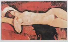 Amedeo Modigliani, NudeAmedeo Modigliani, Nude, chromolithography, 38 × 66 cm, signed, engrave