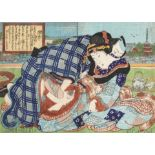 Utagawa Kunisada, Erotic scene (Shunga), illustrating a couple outdoors after the tea ceremonyU