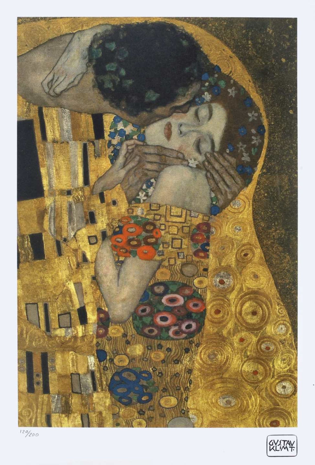Gustav Klimt, The KissGustav Klimt, The Kiss, chromolithography, 44 × 30 cm, signed bottom rig