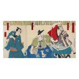 Toyohara Kunichika, Kabuki actorsToyohara Kunichika, Kabuki actors, nishiki-e woodcut, 72 x 35,