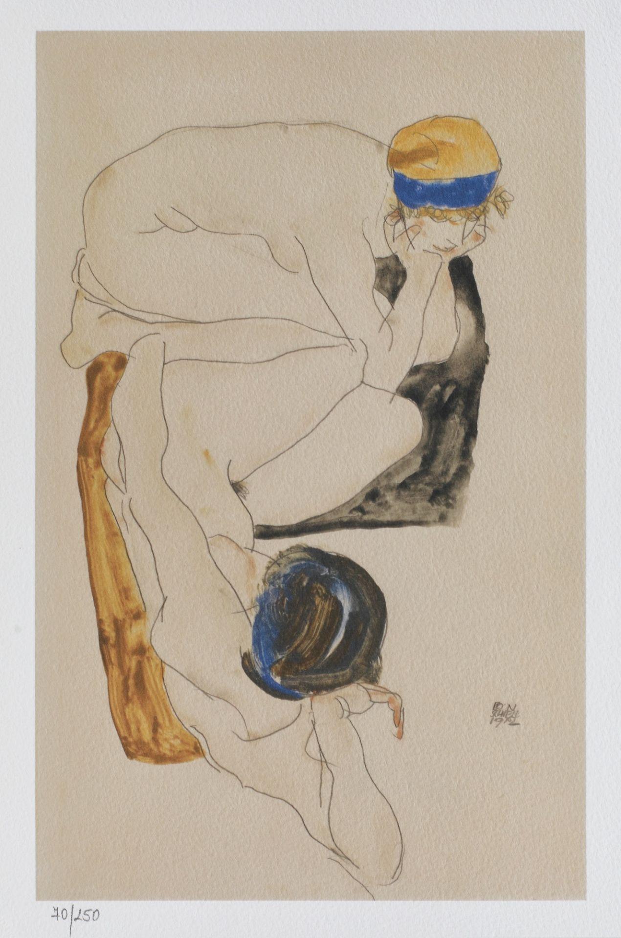 Egon Schiele, Two Reclining FiguresEgon Schiele, Two Reclining Figures, chromolithography, 28,5