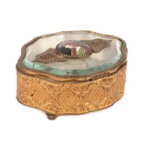 French workshop, jewellery box, doré bronze and bevelled crystal, centrally decorated with a Limoges