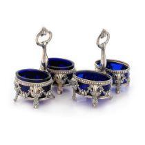 European workshop, Pair of silver and cobalt glass salt castors, decorated with Rocaille motifs, app