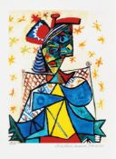 Pablo Picasso, Seated Woman with Blue and Red Hat