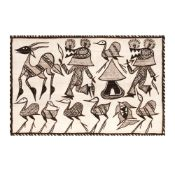 Tribal tapestry, decorated with local deities and motifs, with a protective role, specific to the po
