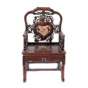 Exotic wooden armchair with marble appliqué, decorated with floral motifs, peaches and nightingales,