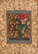 Ottoman miniature depicting a young Ottoman sultan in the middle of his Divan, late 19th century
