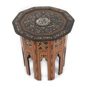 Coffee table, centrally decorated with Arabic calligraphy and mother-of-pearl inlays, Syria, early 2