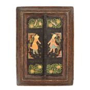 Carved and painted wooden mirror, decorated with traditional motifs, India, early 20th century