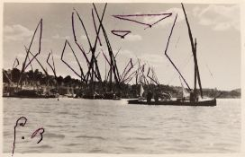 Port on the Nile, photo taken by Aziz Eloui Bey and Lee Miller, wearing drawings with sails and bird