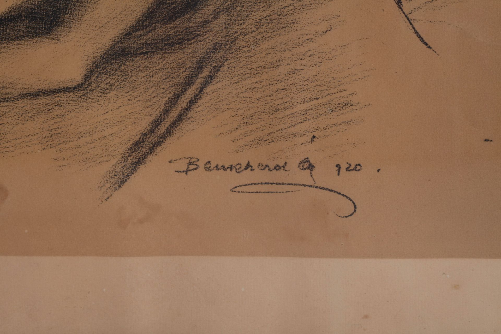 Unknown artist. Lying nude. <br>Signed and framed.1920. Paper, charcoal-pencil. 42,5x58,5 cm. - Bild 4 aus 4