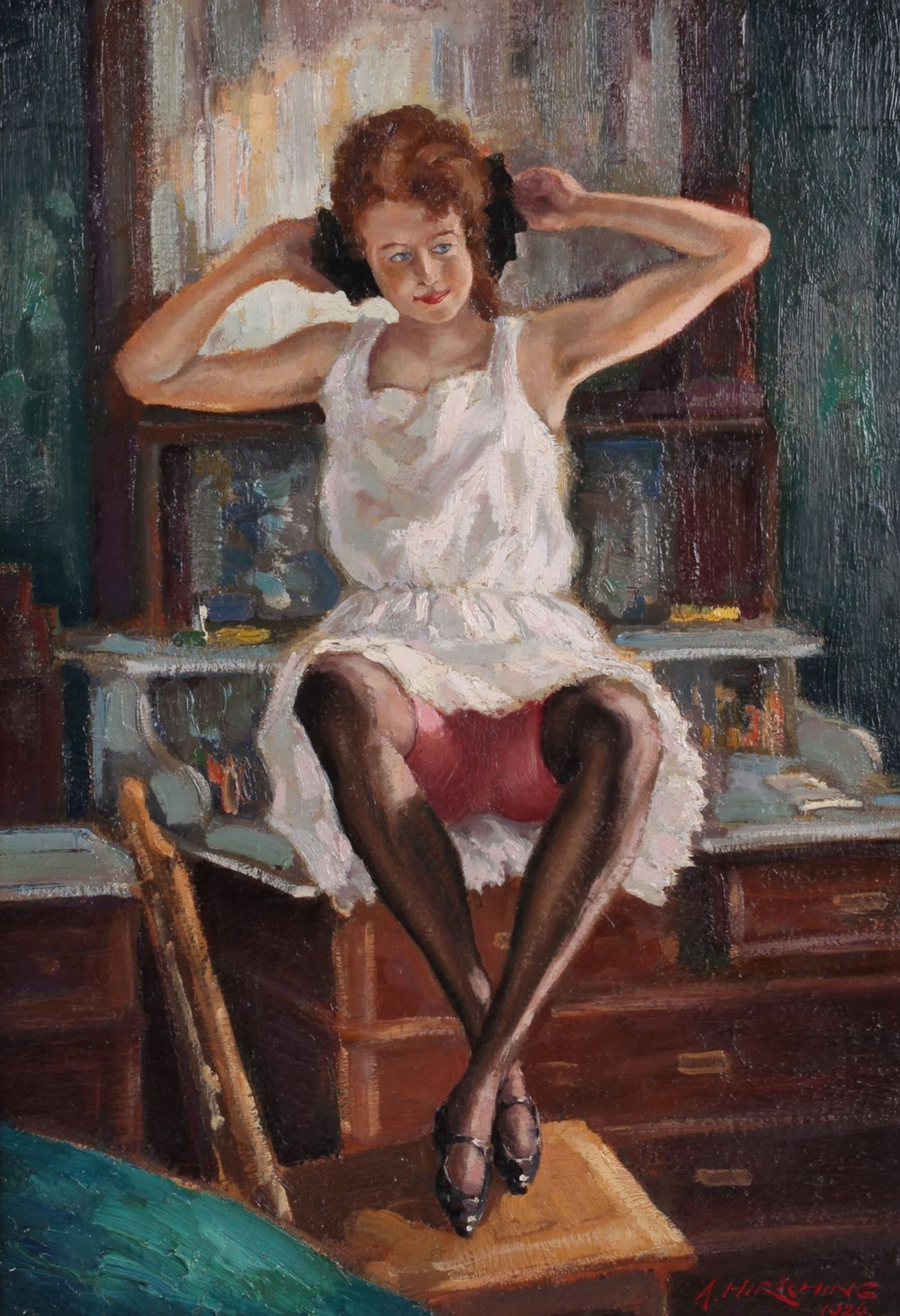 Hirshing, August. Undressing woman in front of the mirror. <br>Signed and framed. 1926. Oil on wood.