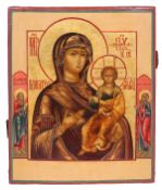 """Russian icon """"Smolenskaya Mother of God"""" and selected saints on the borders. <br>19th century. - 32x"""