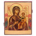 "Russian icon ""Smolenskaya Mother of God"" and selected saints on the borders. <br>19th century. - 32x"
