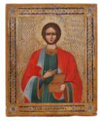 "Russian icon ""Saint Pantaleon"". 19th century.; 22x18 cm.<br>Tempera on wood, with gilding, levkas, e"