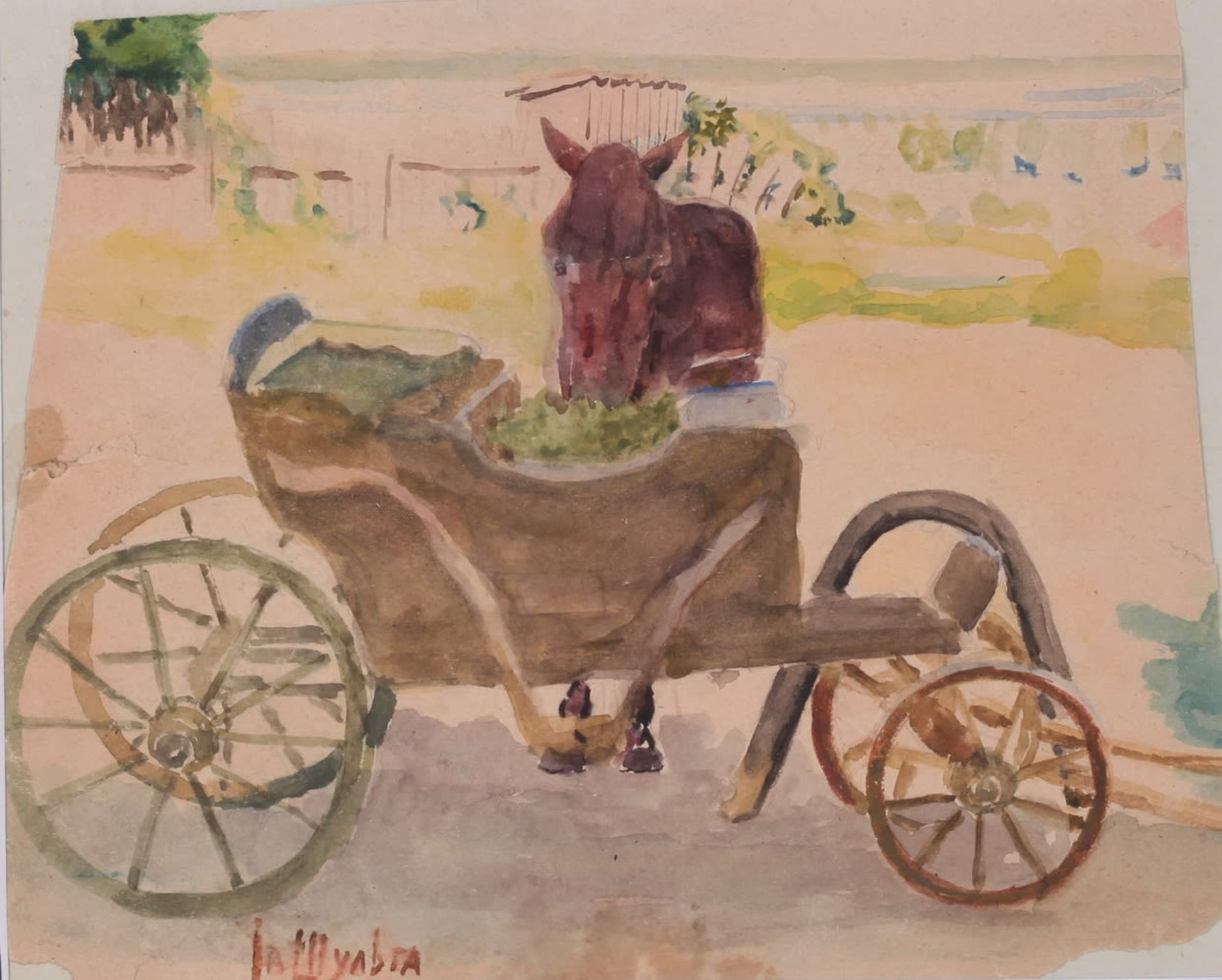 Shulga, Ivan. A horse next to a wagon. An étude. Signed and framed. An watercolor sheet is glued