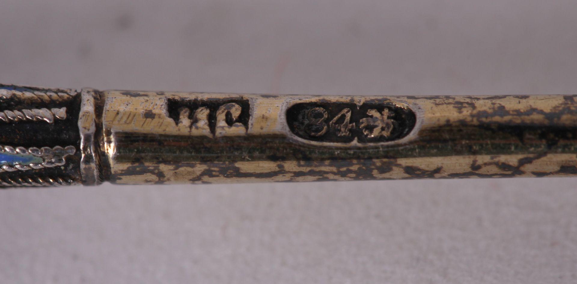 Russian enamel tea spoon. Late 19th- early 20th century. <br> 13x2,8 cm.  - Bild 3 aus 4