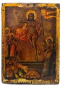 """Russian icon """"Resurrection of Christ"""". - 18th century.; 15x11 cm.<br>Tempera on wood, with gilding,"""