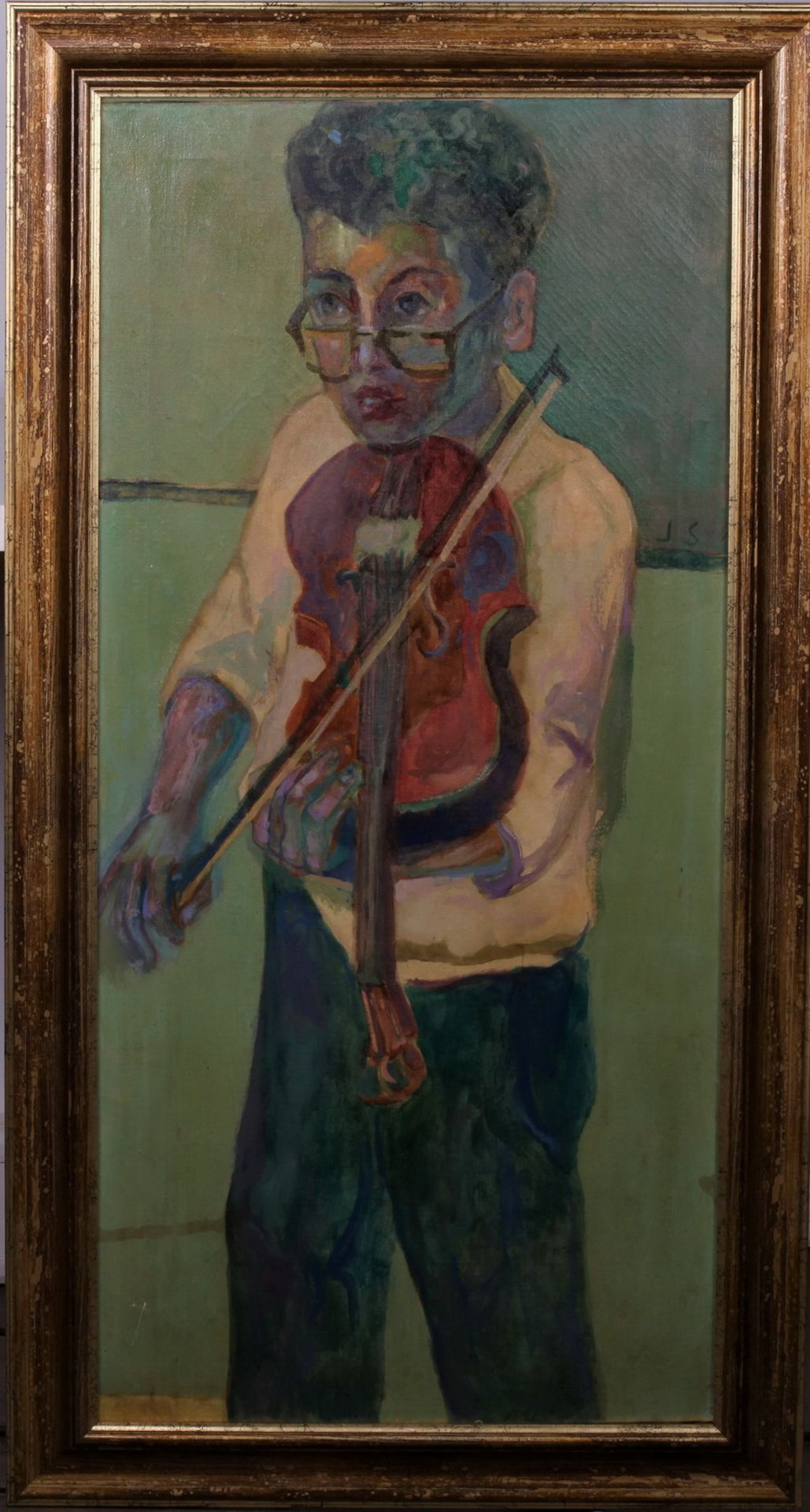 Solman, Joseph. A young boy with a violin. Signed and framed. 1950s. Oil on canvas. 97x46 cm. - Bild 2 aus 2